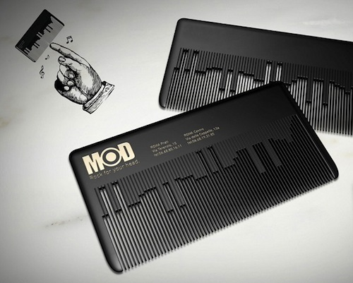 12 creative business cards that double as cool gadgets music comb business card by fabio milito reheart Gallery
