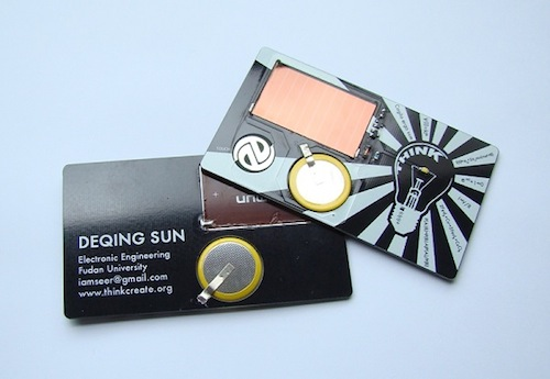 12 creative business cards that double as cool gadgets solar torch card by deqing sun colourmoves Image collections